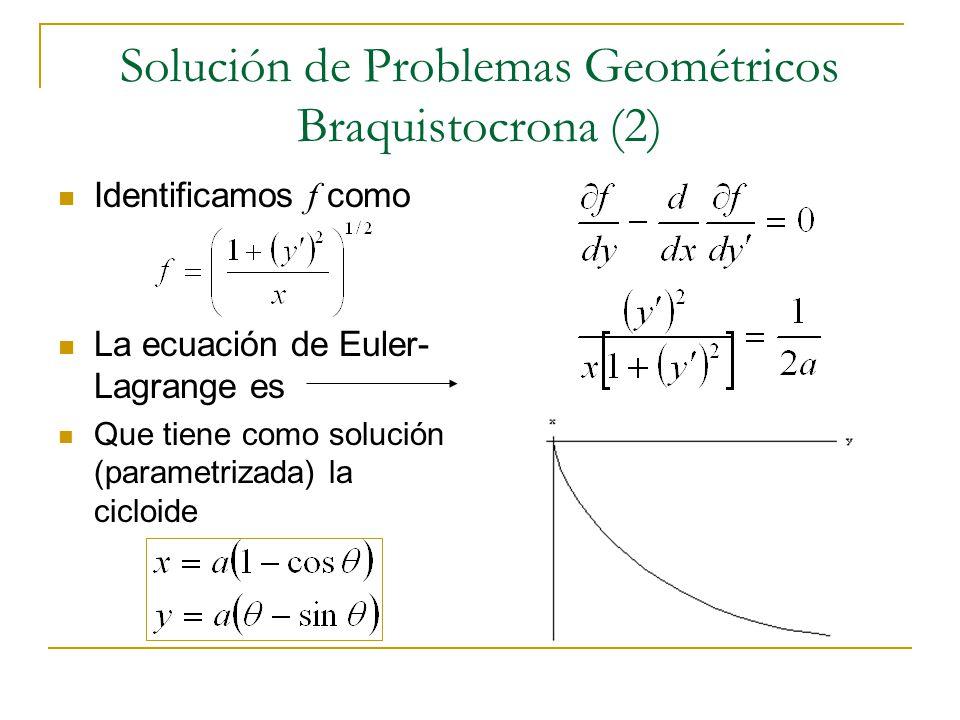 Solución de Problemas Geométricos Braquistocrona (2) Identificamos f como La ecuación de Euler- Lagrange es Que tiene como solución (parametrizada) la