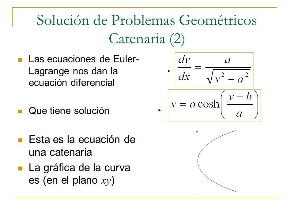 Solución de Problemas Geométricos Catenaria (2) Las ecuaciones de Euler- Lagrange nos dan la ecuación diferencial Que tiene solución Esta es la ecuaci