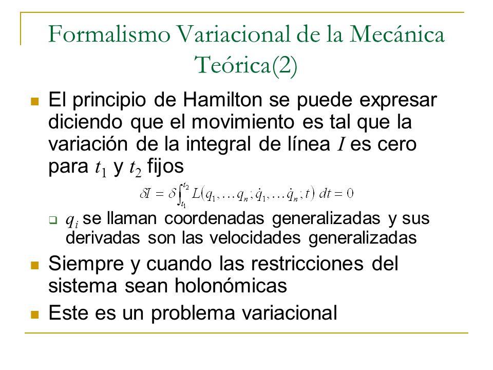 Formalismo Variacional de la Mecánica Teórica(2) El principio de Hamilton se puede expresar diciendo que el movimiento es tal que la variación de la i