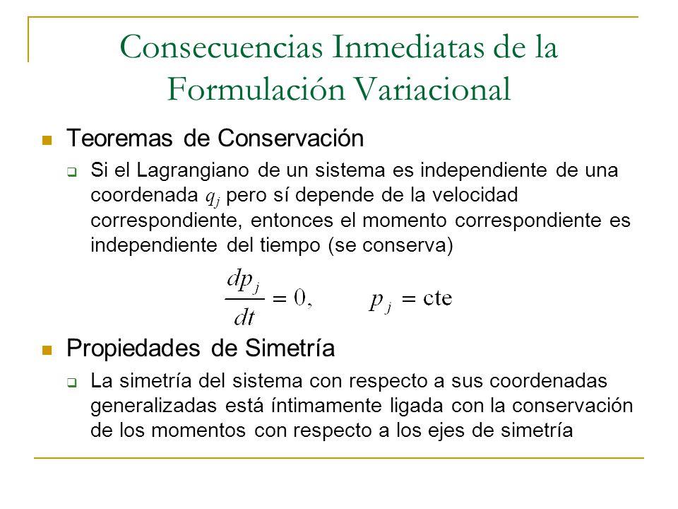 Consecuencias Inmediatas de la Formulación Variacional Teoremas de Conservación Si el Lagrangiano de un sistema es independiente de una coordenada q j