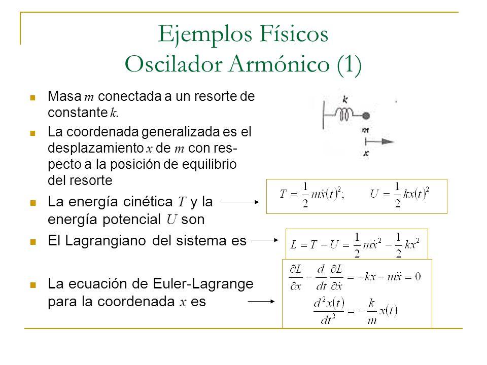 Ejemplos Físicos Oscilador Armónico (1) Masa m conectada a un resorte de constante k. La coordenada generalizada es el desplazamiento x de m con res-