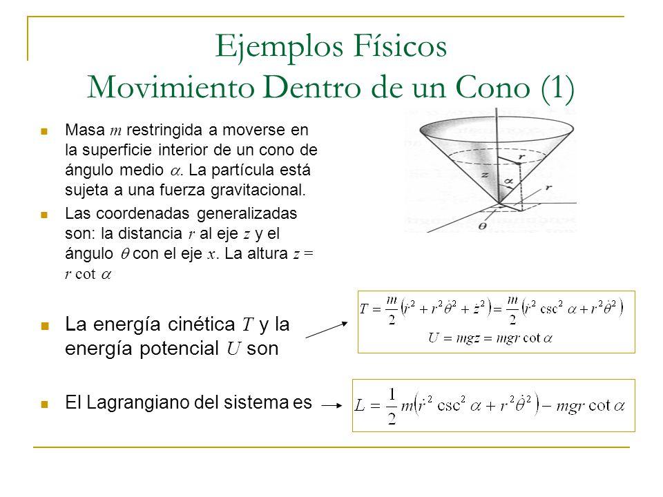 Ejemplos Físicos Movimiento Dentro de un Cono (1) Masa m restringida a moverse en la superficie interior de un cono de ángulo medio. La partícula está
