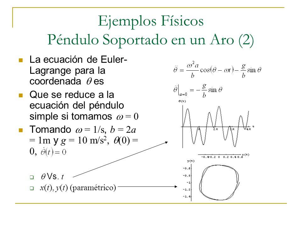 Ejemplos Físicos Péndulo Soportado en un Aro (2) La ecuación de Euler- Lagrange para la coordenada es Que se reduce a la ecuación del péndulo simple s