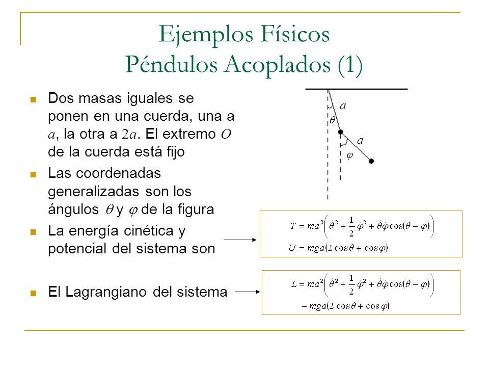 Ejemplos Físicos Péndulos Acoplados (1) Dos masas iguales se ponen en una cuerda, una a a, la otra a 2a. El extremo O de la cuerda está fijo Las coord