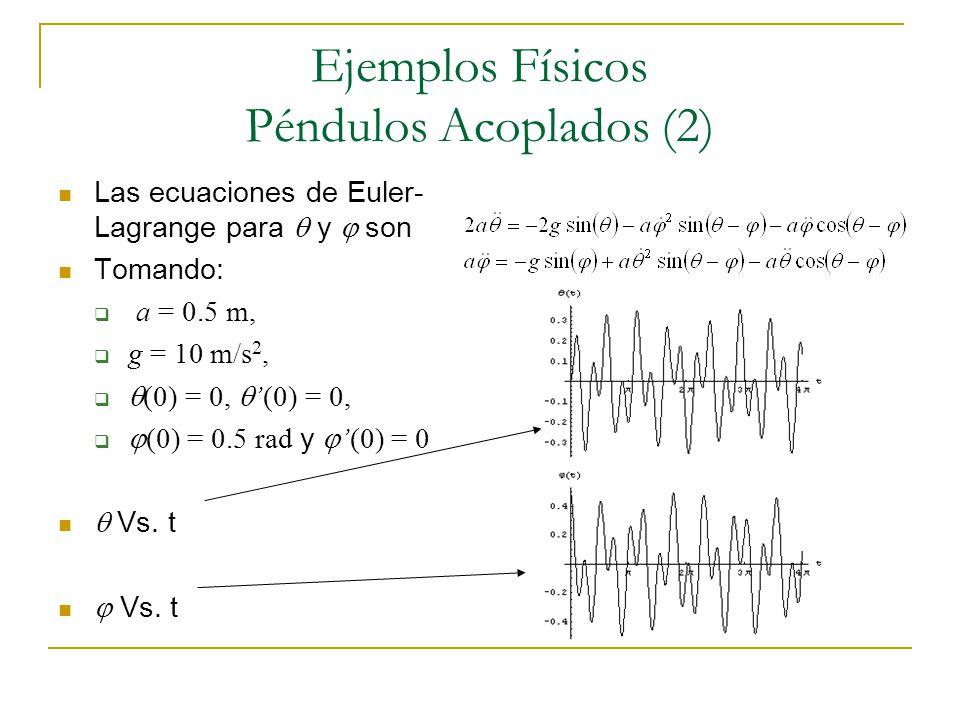 Ejemplos Físicos Péndulos Acoplados (2) Las ecuaciones de Euler- Lagrange para y son Tomando: a = 0.5 m, g = 10 m/s 2, (0) = 0,(0) = 0, (0) = 0.5 rad