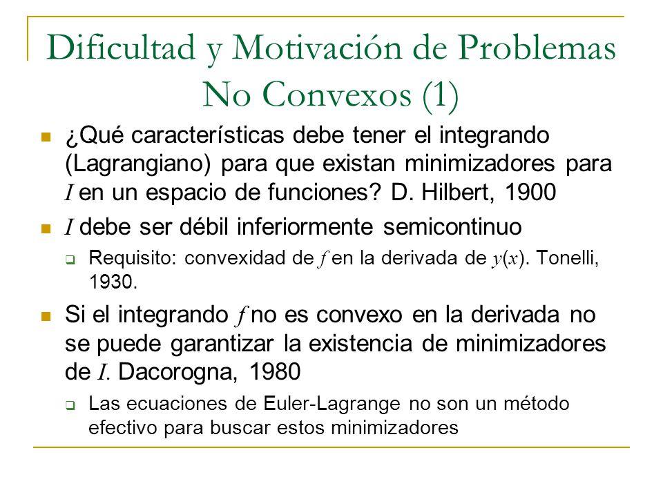 Dificultad y Motivación de Problemas No Convexos (1) ¿Qué características debe tener el integrando (Lagrangiano) para que existan minimizadores para I