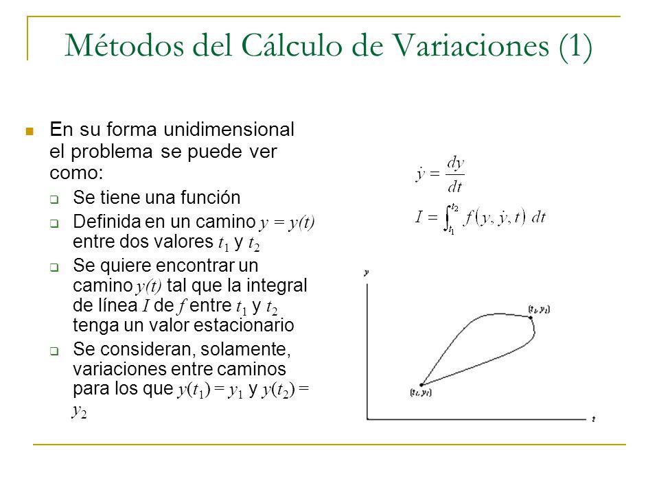 Métodos del Cálculo de Variaciones (1) En su forma unidimensional el problema se puede ver como: Se tiene una función Definida en un camino y = y(t) e