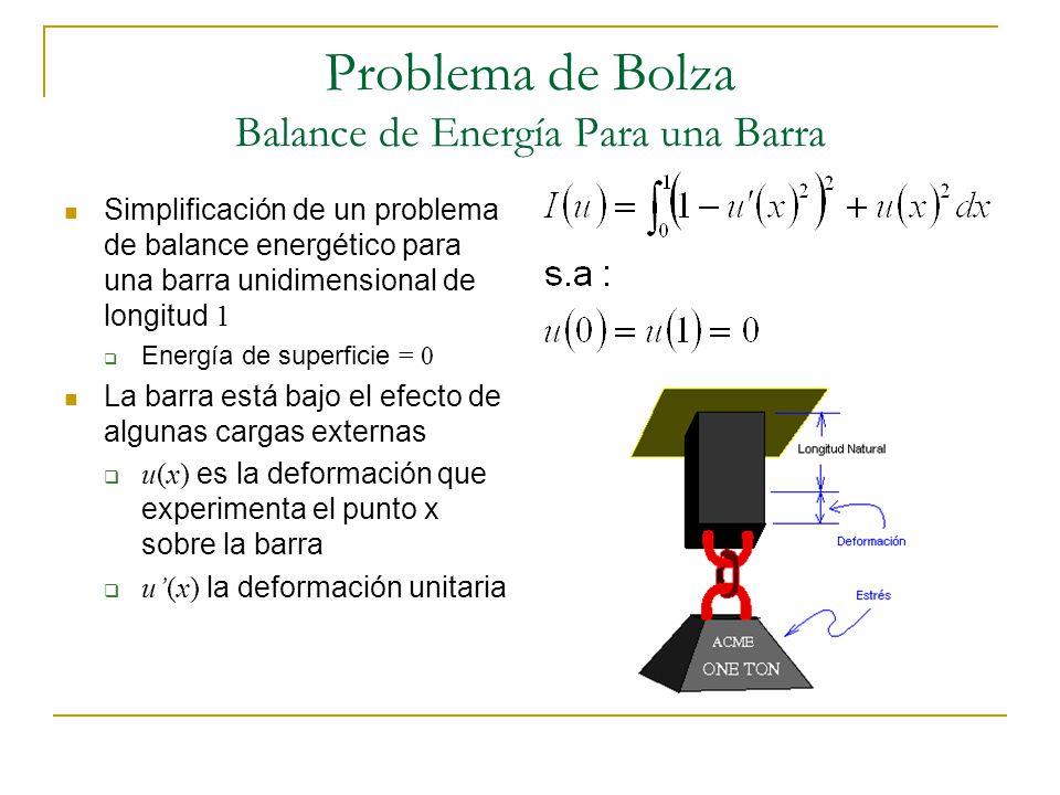 Problema de Bolza Balance de Energía Para una Barra Simplificación de un problema de balance energético para una barra unidimensional de longitud 1 En