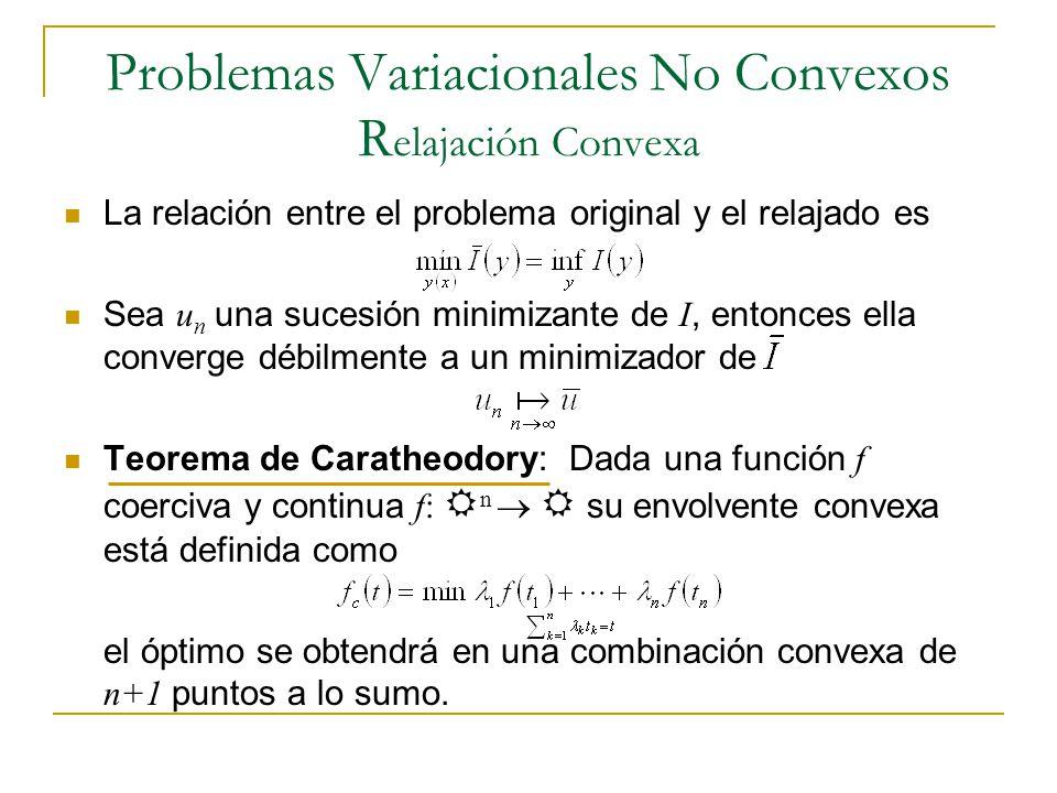 Problemas Variacionales No Convexos R elajación Convexa La relación entre el problema original y el relajado es Sea u n una sucesión minimizante de I,