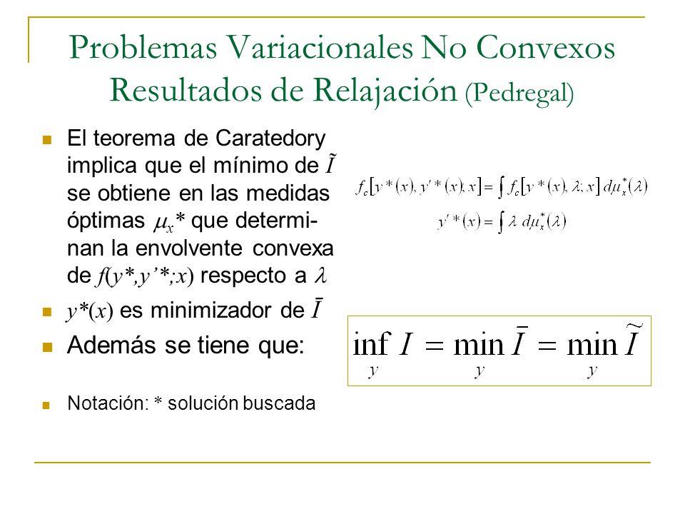 Problemas Variacionales No Convexos Resultados de Relajación (Pedregal) El teorema de Caratedory implica que el mínimo de Ĩ se obtiene en las medidas
