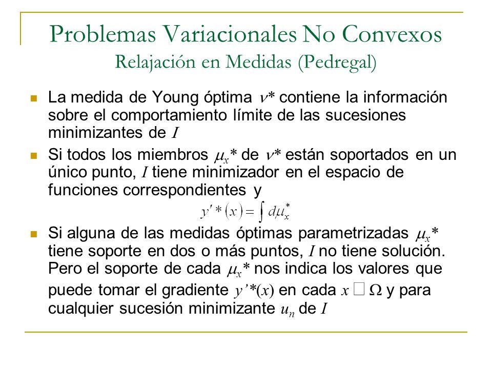 Problemas Variacionales No Convexos Relajación en Medidas (Pedregal) La medida de Young óptima * contiene la información sobre el comportamiento límit
