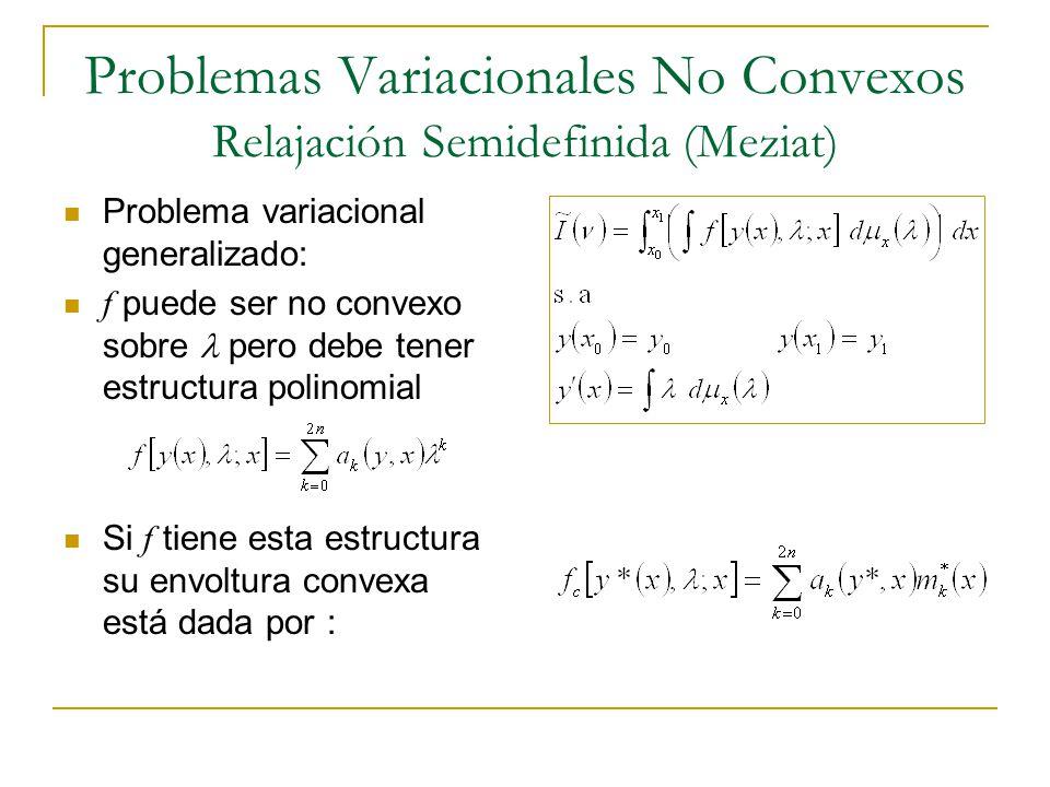 Problemas Variacionales No Convexos Relajación Semidefinida (Meziat) Problema variacional generalizado: f puede ser no convexo sobre pero debe tener e