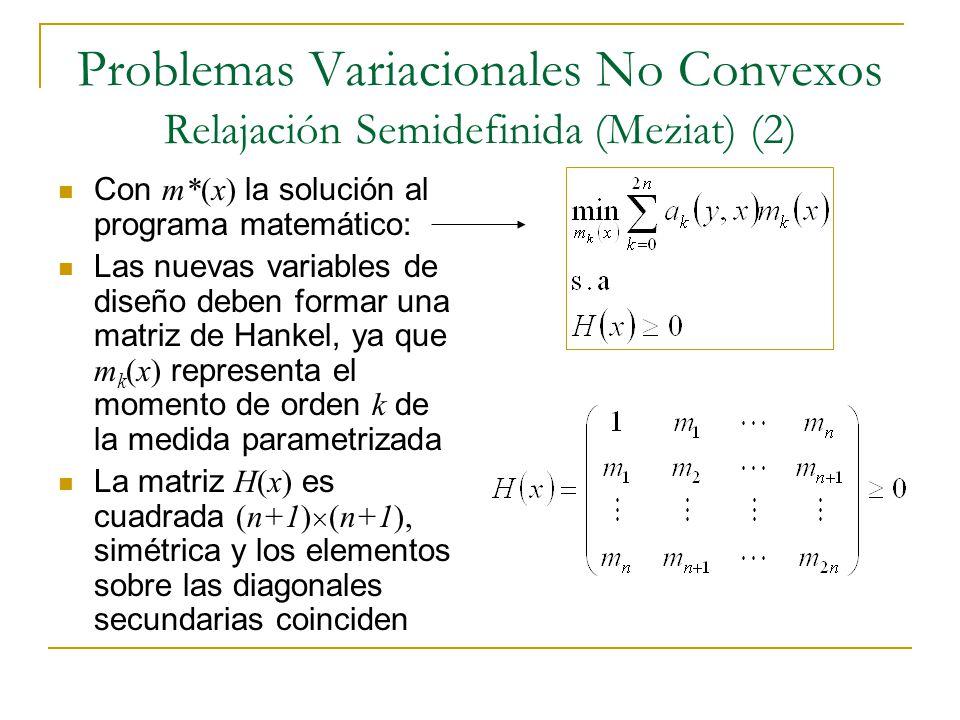 Problemas Variacionales No Convexos Relajación Semidefinida (Meziat) (2) Con m*(x) la solución al programa matemático: Las nuevas variables de diseño