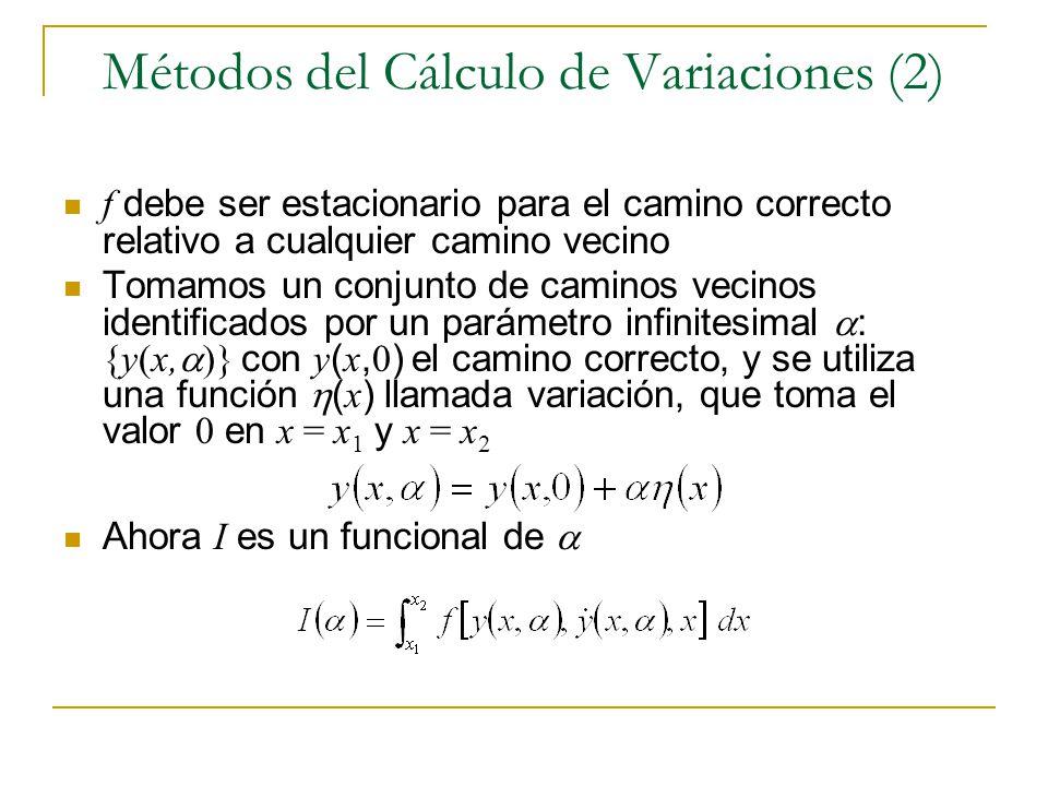 Métodos del Cálculo de Variaciones (2) f debe ser estacionario para el camino correcto relativo a cualquier camino vecino Tomamos un conjunto de camin