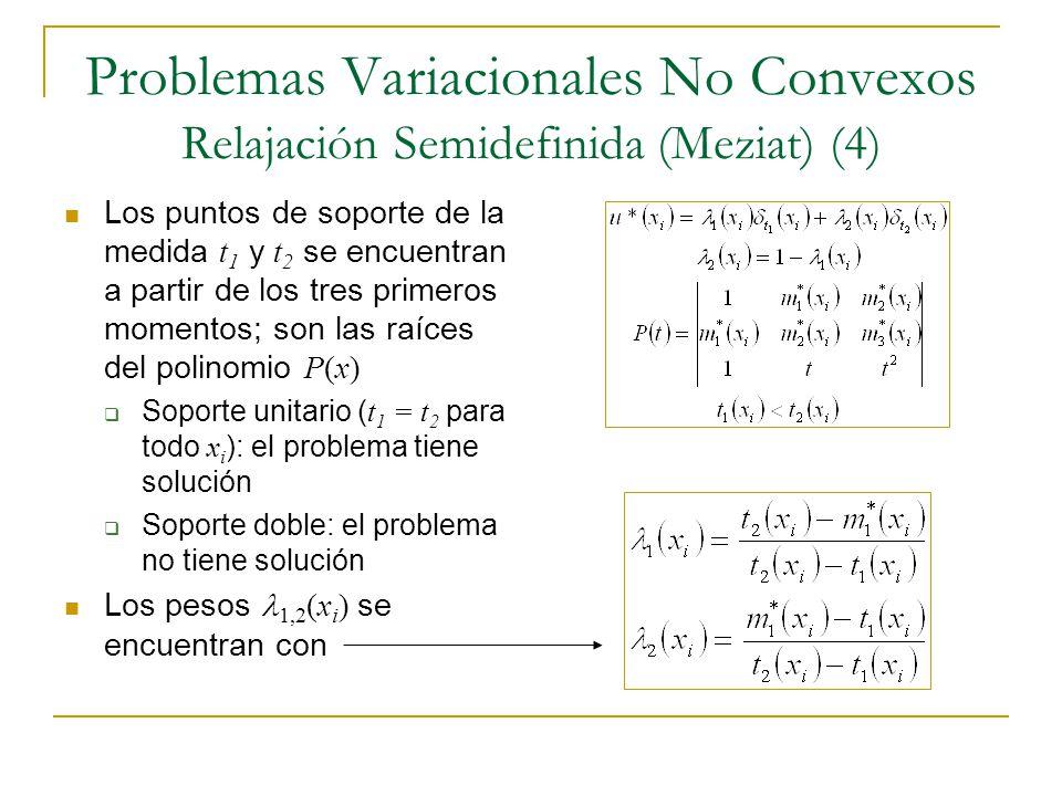 Problemas Variacionales No Convexos Relajación Semidefinida (Meziat) (4) Los puntos de soporte de la medida t 1 y t 2 se encuentran a partir de los tr