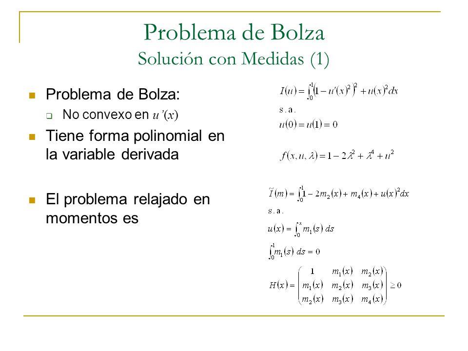Problema de Bolza Solución con Medidas (1) Problema de Bolza: No convexo en u(x) Tiene forma polinomial en la variable derivada El problema relajado e