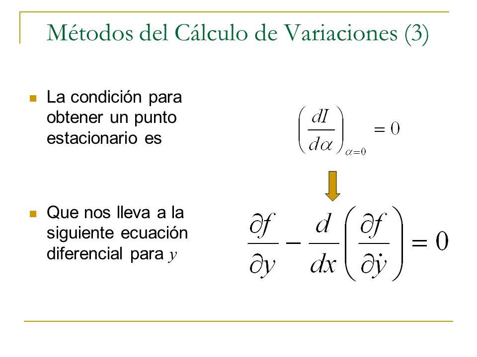 Métodos del Cálculo de Variaciones (3) La condición para obtener un punto estacionario es Que nos lleva a la siguiente ecuación diferencial para y