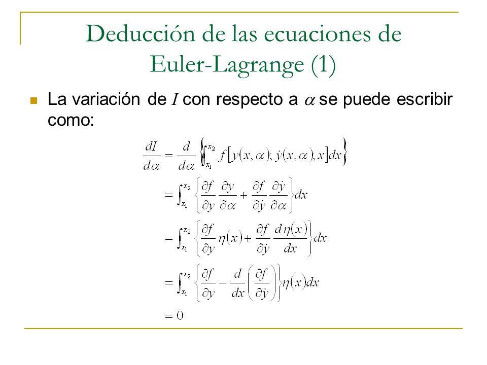 Deducción de las ecuaciones de Euler-Lagrange (1) La variación de I con respecto a se puede escribir como: