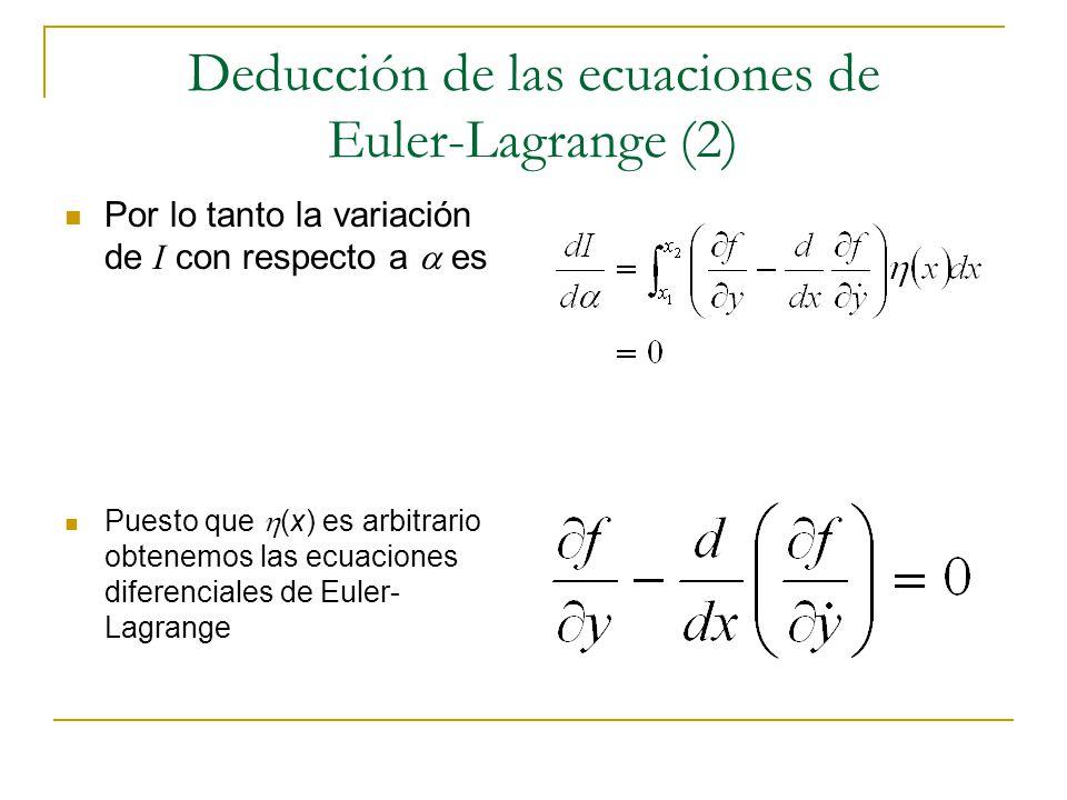 Deducción de las ecuaciones de Euler-Lagrange (2) Por lo tanto la variación de I con respecto a es Puesto que (x) es arbitrario obtenemos las ecuacion