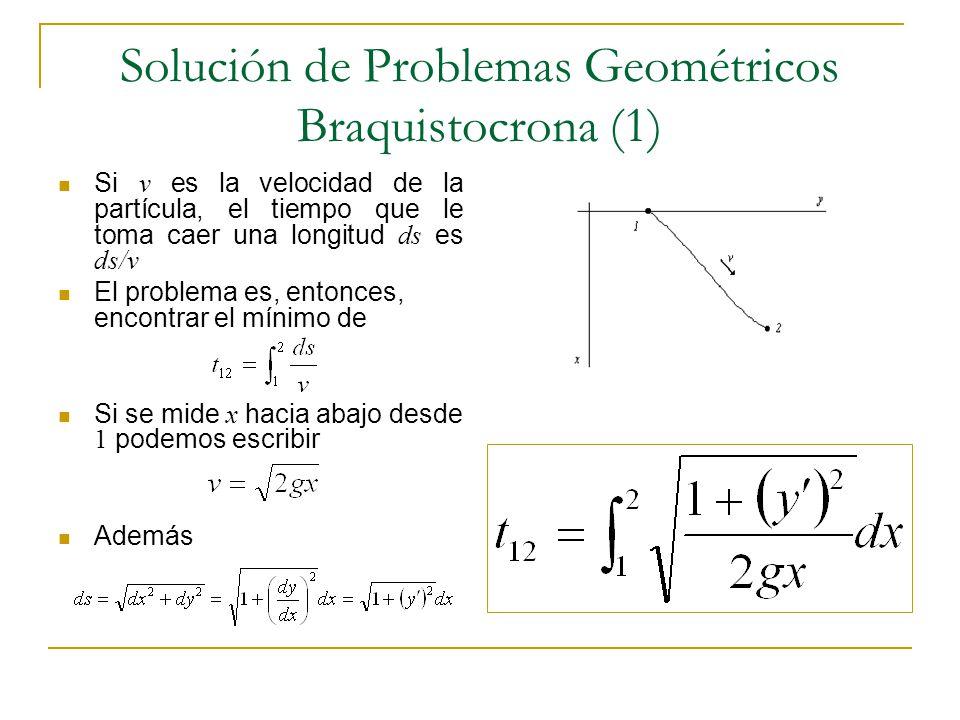 Solución de Problemas Geométricos Braquistocrona (1) Si v es la velocidad de la partícula, el tiempo que le toma caer una longitud ds es ds/v El probl