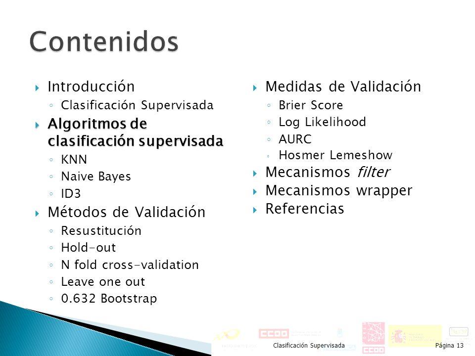 Introducción Clasificación Supervisada Algoritmos de clasificación supervisada Algoritmos de clasificación supervisada KNN Naive Bayes ID3 Métodos de