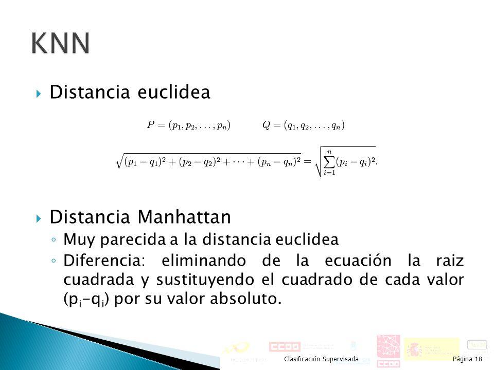 Distancia euclidea Distancia Manhattan Muy parecida a la distancia euclidea Diferencia: eliminando de la ecuación la raiz cuadrada y sustituyendo el c