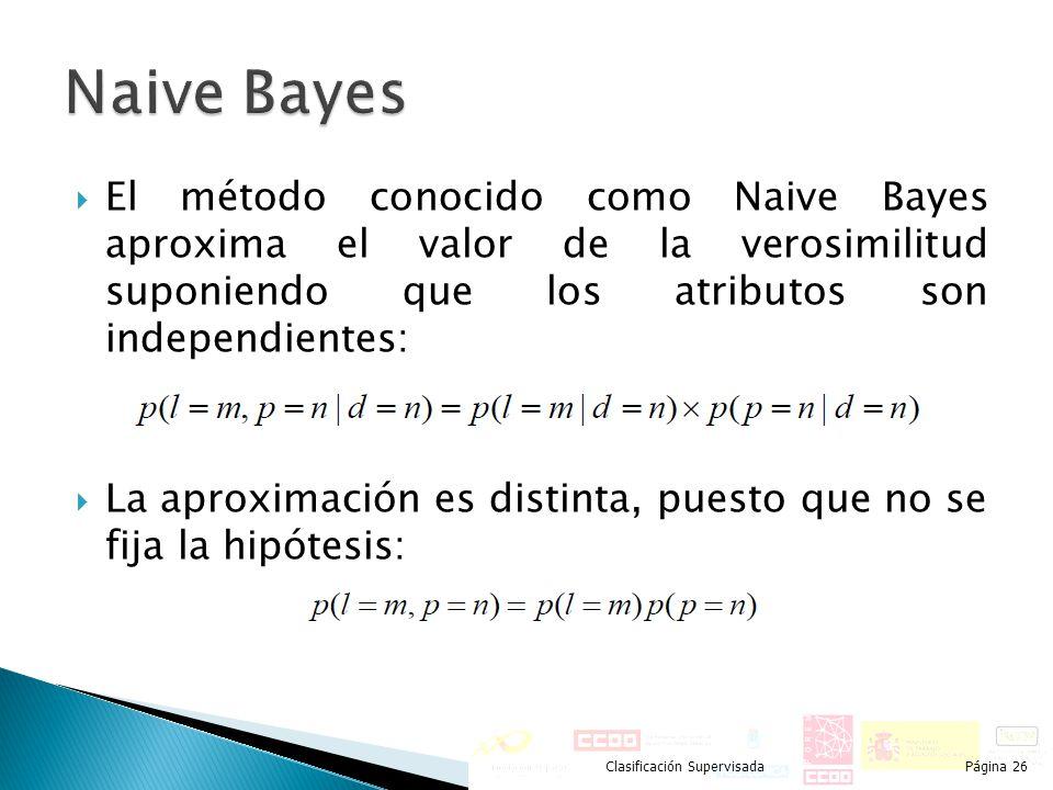 El método conocido como Naive Bayes aproxima el valor de la verosimilitud suponiendo que los atributos son independientes: La aproximación es distinta