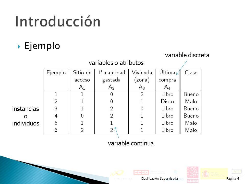Ejemplo Clasificación SupervisadaPágina 4 instancias o individuos variables o atributos variable continua variable discreta
