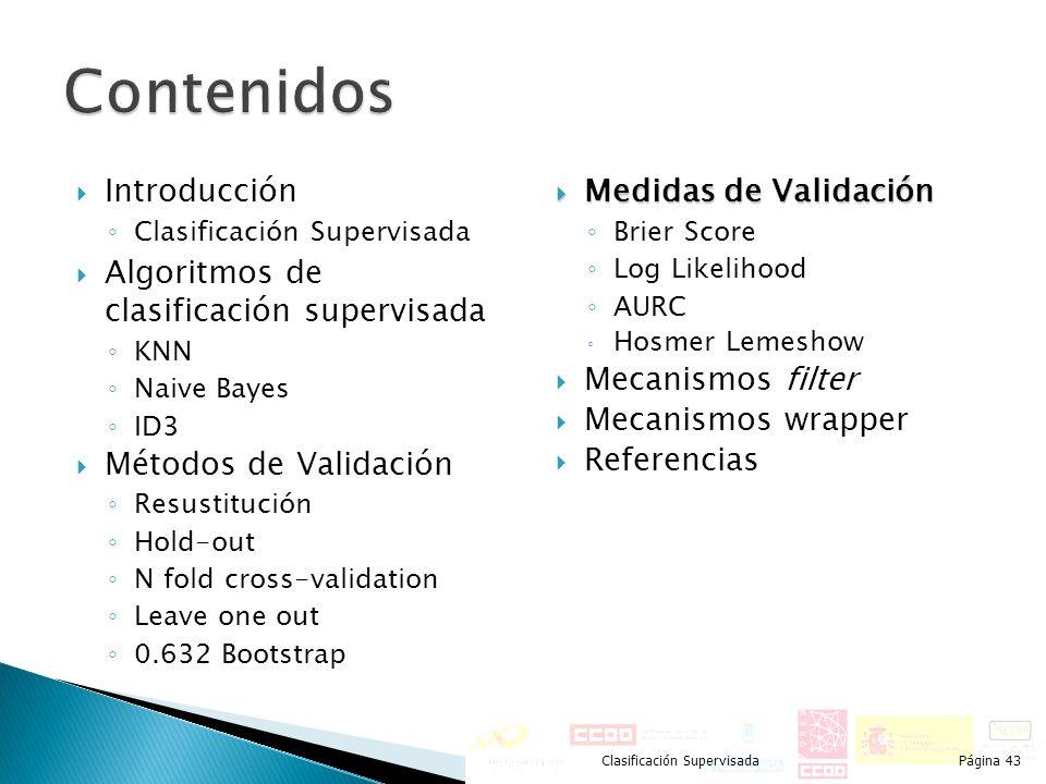 Introducción Clasificación Supervisada Algoritmos de clasificación supervisada KNN Naive Bayes ID3 Métodos de Validación Resustitución Hold-out N fold