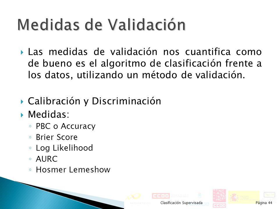 Las medidas de validación nos cuantifica como de bueno es el algoritmo de clasificación frente a los datos, utilizando un método de validación. Calibr