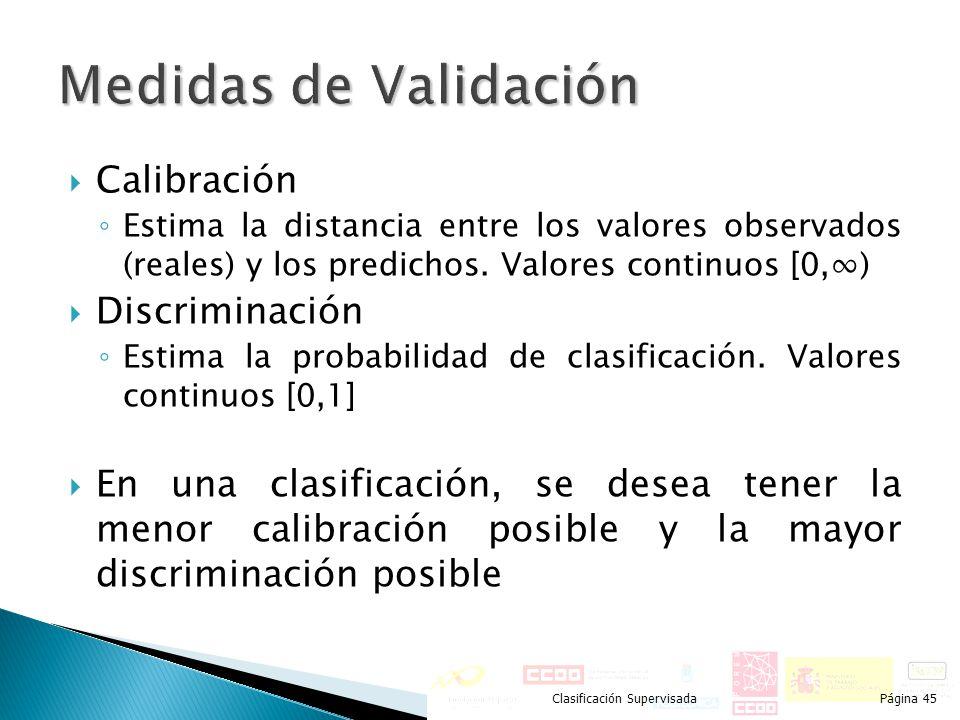 Calibración Estima la distancia entre los valores observados (reales) y los predichos. Valores continuos [0,) Discriminación Estima la probabilidad de