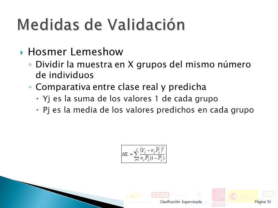Hosmer Lemeshow Dividir la muestra en X grupos del mismo número de individuos Comparativa entre clase real y predicha Yj es la suma de los valores 1 d