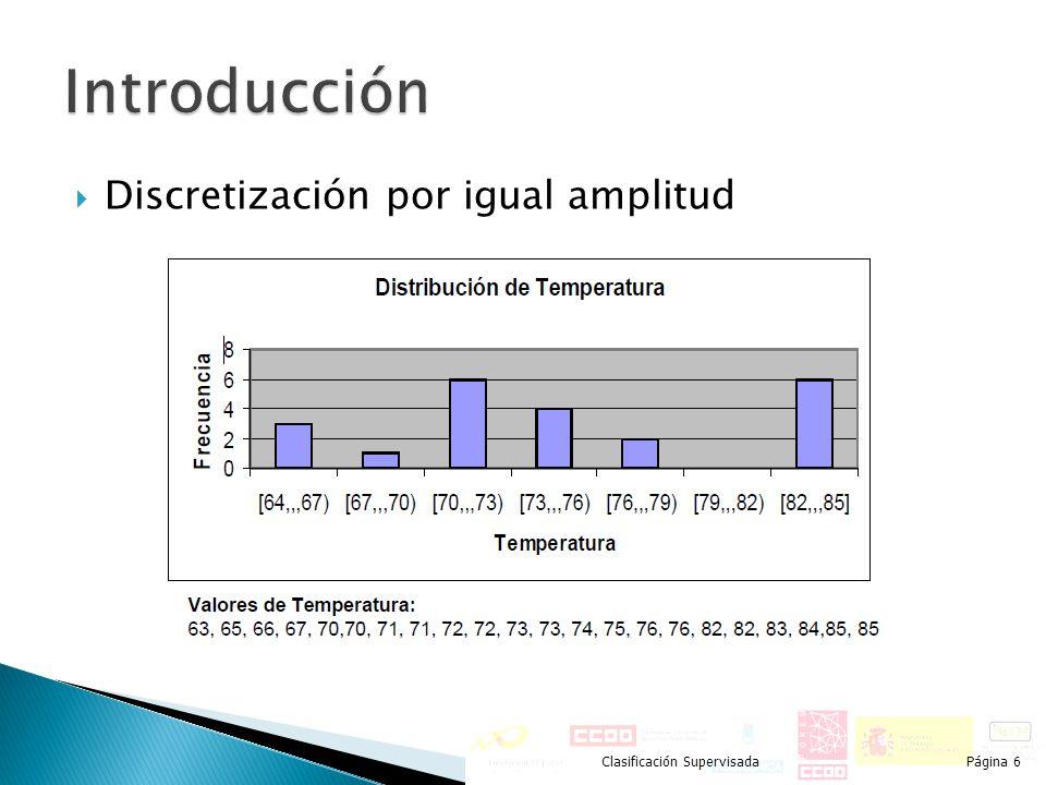 Discretización por igual amplitud Clasificación SupervisadaPágina 6