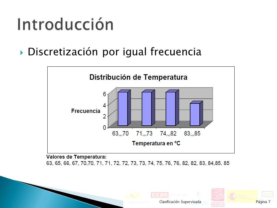 Discretización por igual frecuencia Clasificación SupervisadaPágina 7