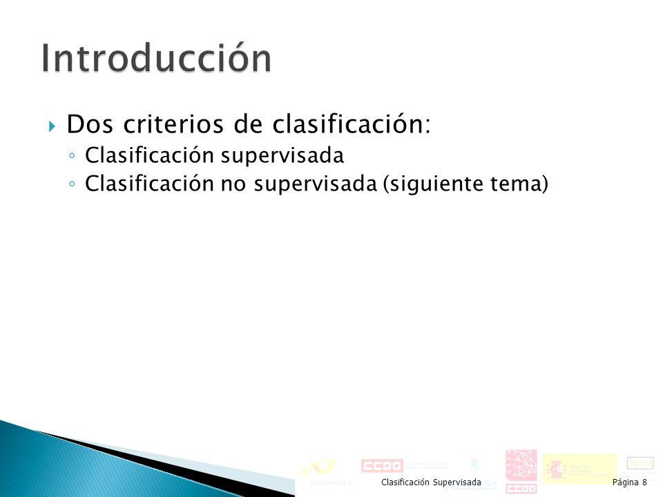 Dos criterios de clasificación: Clasificación supervisada Clasificación no supervisada (siguiente tema) Clasificación SupervisadaPágina 8