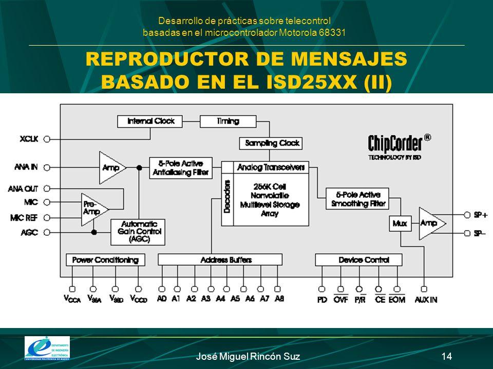Desarrollo de prácticas sobre telecontrol basadas en el microcontrolador Motorola 68331 José Miguel Rincón Suz14 REPRODUCTOR DE MENSAJES BASADO EN EL