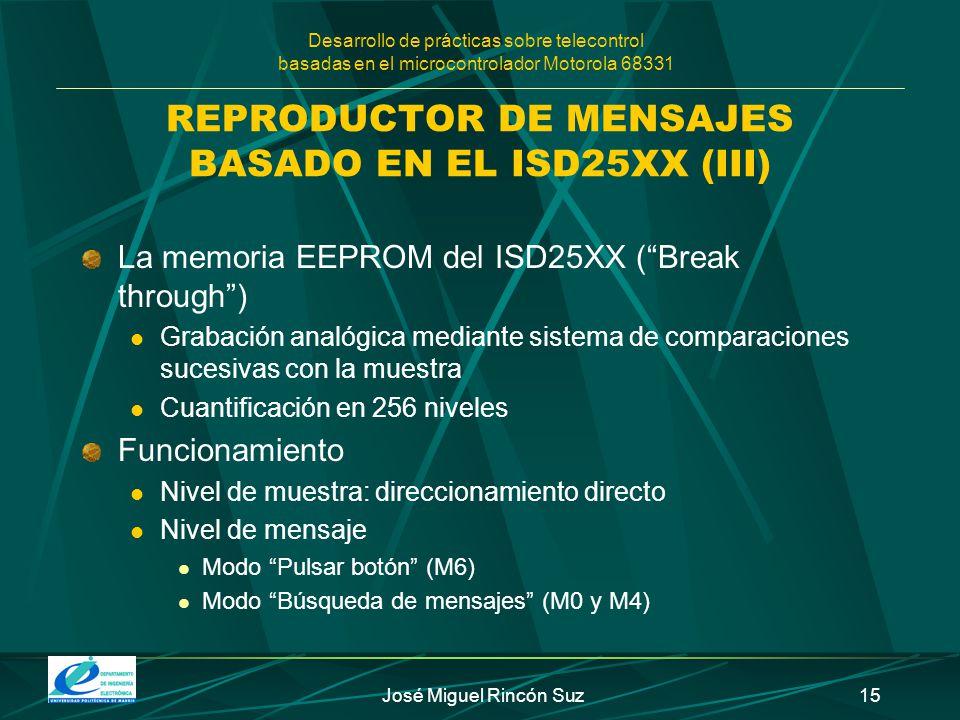 Desarrollo de prácticas sobre telecontrol basadas en el microcontrolador Motorola 68331 José Miguel Rincón Suz15 REPRODUCTOR DE MENSAJES BASADO EN EL