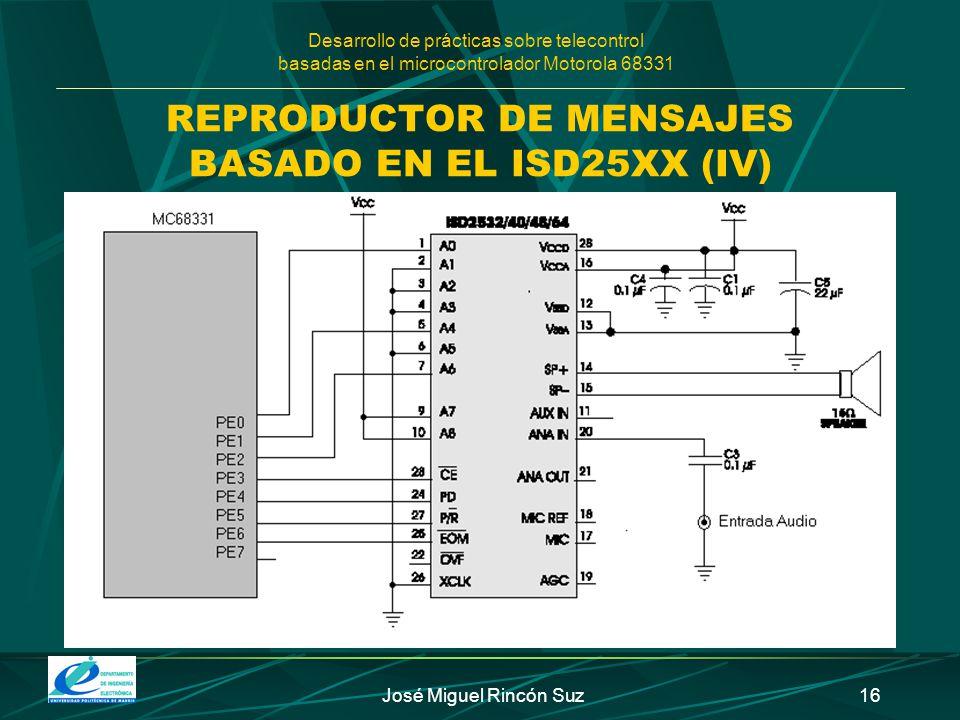 Desarrollo de prácticas sobre telecontrol basadas en el microcontrolador Motorola 68331 José Miguel Rincón Suz16 REPRODUCTOR DE MENSAJES BASADO EN EL