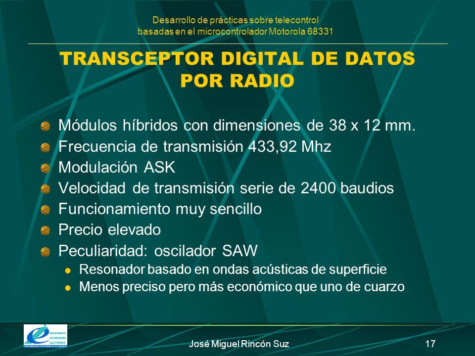Desarrollo de prácticas sobre telecontrol basadas en el microcontrolador Motorola 68331 José Miguel Rincón Suz17 TRANSCEPTOR DIGITAL DE DATOS POR RADI