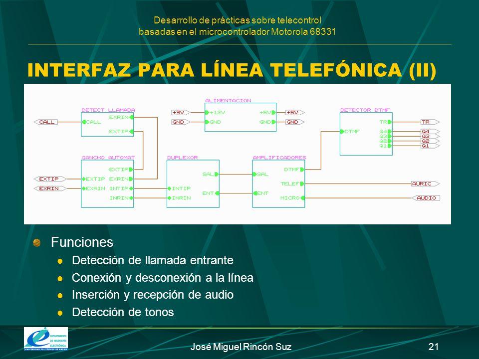 Desarrollo de prácticas sobre telecontrol basadas en el microcontrolador Motorola 68331 José Miguel Rincón Suz21 INTERFAZ PARA LÍNEA TELEFÓNICA (II) F