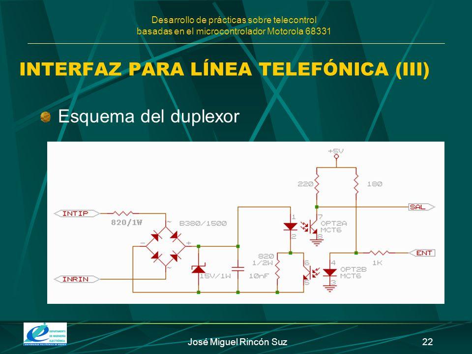 Desarrollo de prácticas sobre telecontrol basadas en el microcontrolador Motorola 68331 José Miguel Rincón Suz22 INTERFAZ PARA LÍNEA TELEFÓNICA (III)