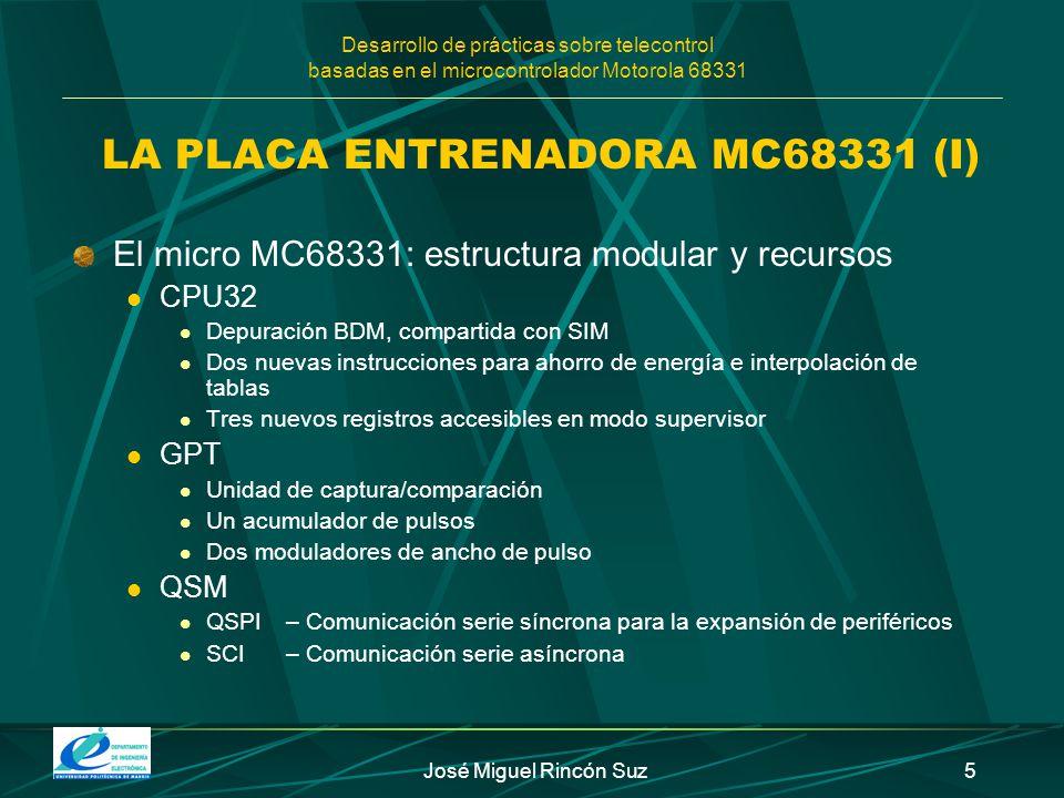 Desarrollo de prácticas sobre telecontrol basadas en el microcontrolador Motorola 68331 José Miguel Rincón Suz5 El micro MC68331: estructura modular y