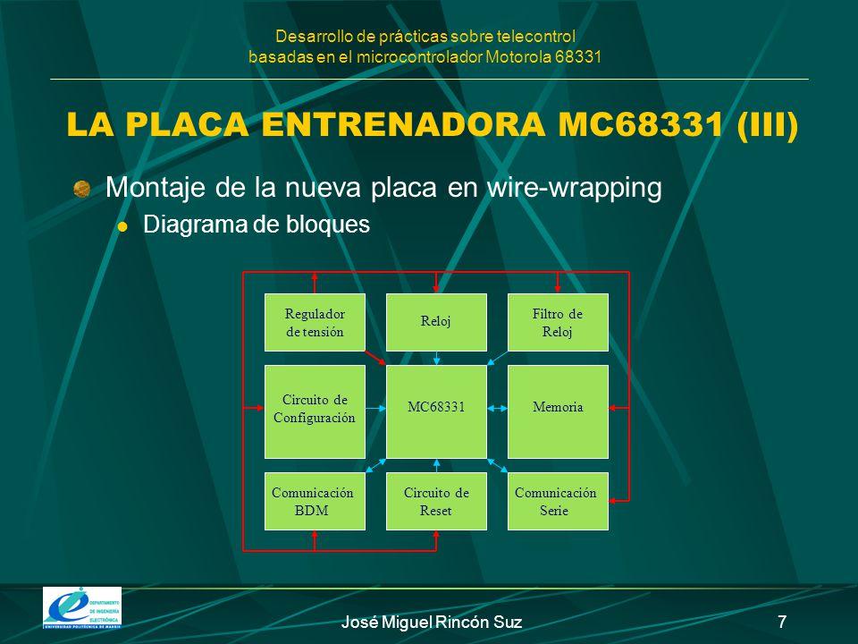 Desarrollo de prácticas sobre telecontrol basadas en el microcontrolador Motorola 68331 José Miguel Rincón Suz7 LA PLACA ENTRENADORA MC68331 (III) Mon