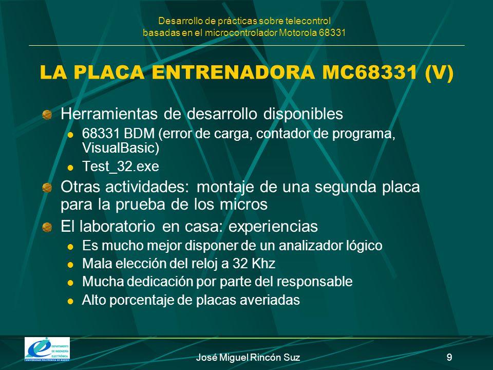 Desarrollo de prácticas sobre telecontrol basadas en el microcontrolador Motorola 68331 José Miguel Rincón Suz9 LA PLACA ENTRENADORA MC68331 (V) Herra