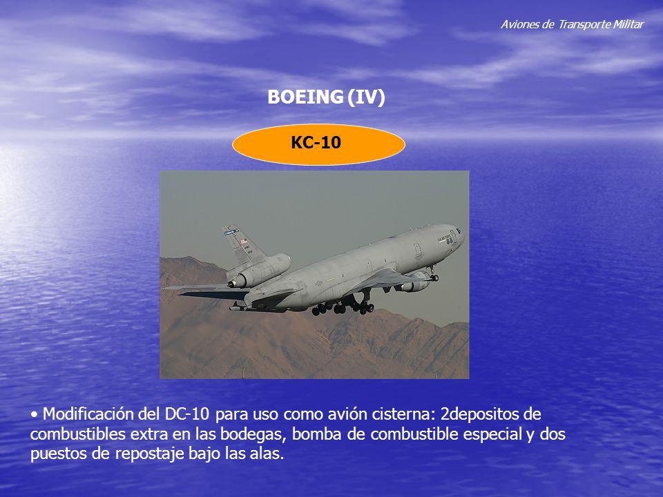 Aviones de Transporte Militar BOEING (IV) KC-10 Modificación del DC-10 para uso como avión cisterna: 2depositos de combustibles extra en las bodegas,