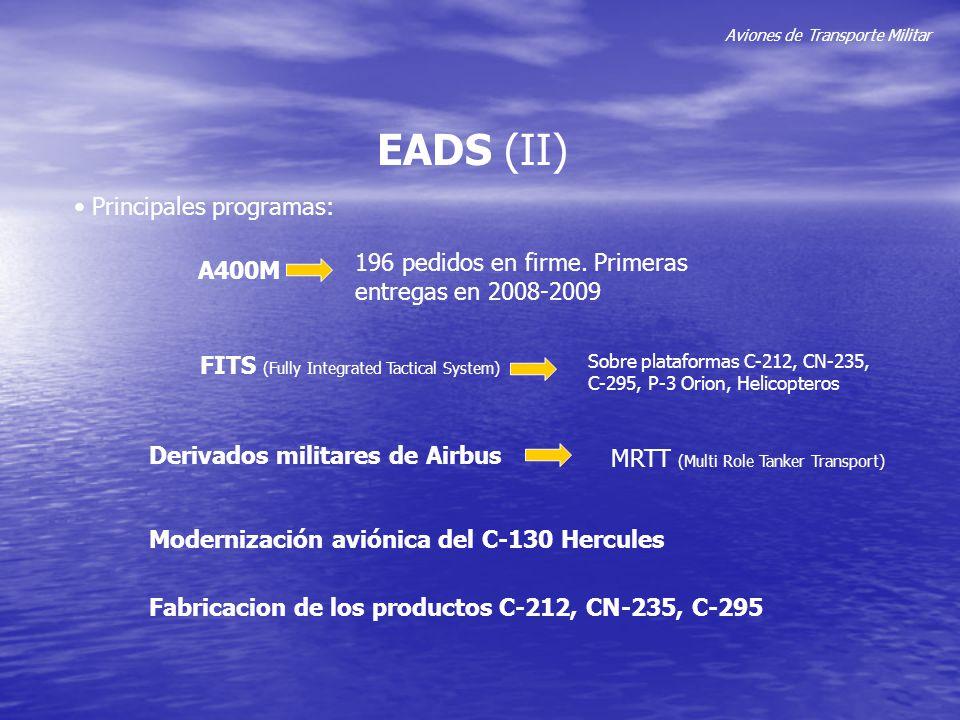 Aviones de Transporte Militar EADS (II) Principales programas: A400M 196 pedidos en firme. Primeras entregas en 2008-2009 FITS (Fully Integrated Tacti