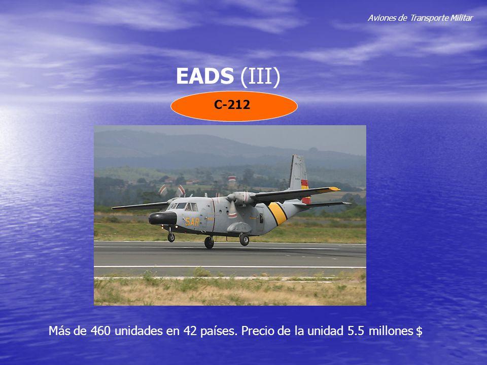 Aviones de Transporte Militar EADS (III) C-212 Más de 460 unidades en 42 países. Precio de la unidad 5.5 millones $