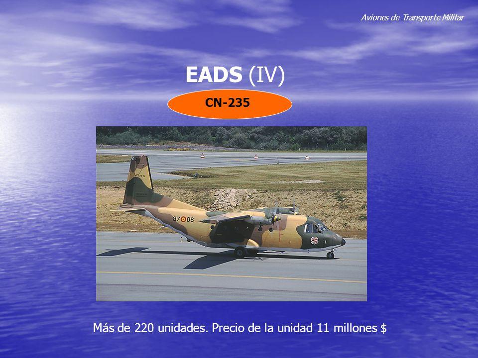 Aviones de Transporte Militar EADS (IV) CN-235 Más de 220 unidades. Precio de la unidad 11 millones $