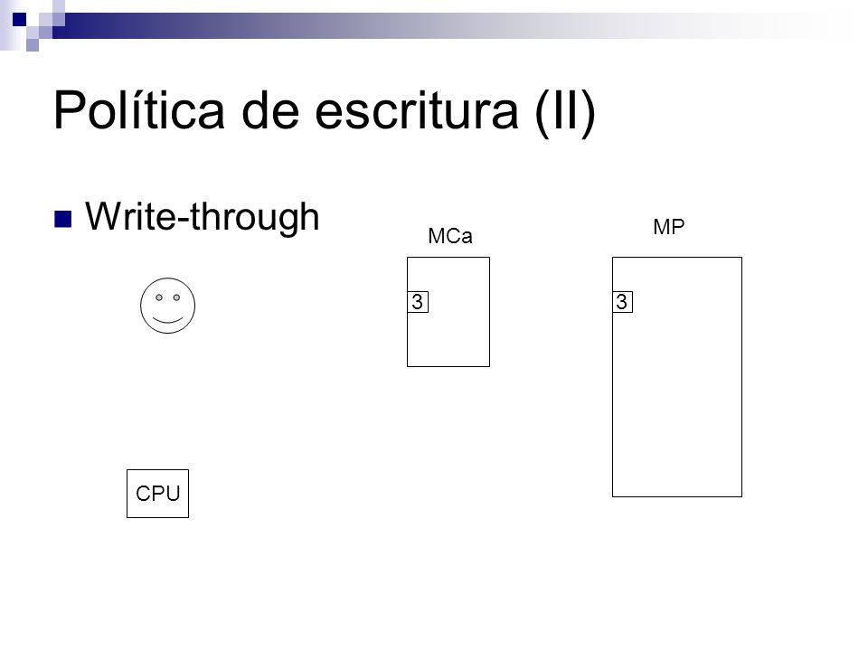 Política de escritura (II) Write-through MCa MP CPU 33