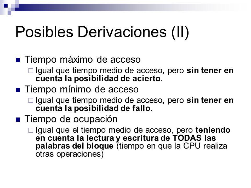 Posibles Derivaciones (II) Tiempo máximo de acceso Igual que tiempo medio de acceso, pero sin tener en cuenta la posibilidad de acierto.